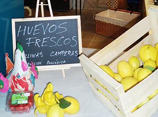 Productos ecológicos en el  Mercado del Arenal de Sevilla. Biológico Vela Blanca
